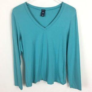 Gap Large Turquoise Long Sleeve V-Neck Shirt Top